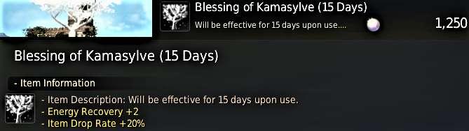 BDO Blessing of the Kamasylve for Energy Regeneration