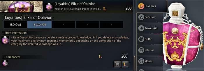 Kzarka Knowledge Reset: Elixir of Oblivion