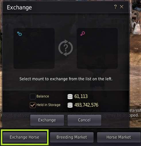 BDO Horse Breeding Exchange Window