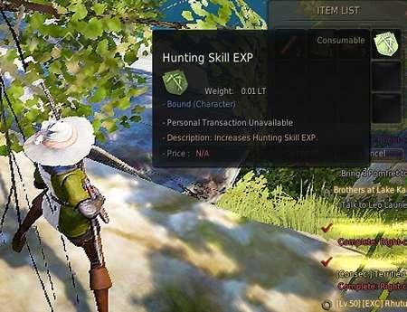 BDO Hunting Skill XP