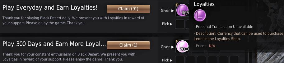 BDO Free Pearl Items via Loyalties