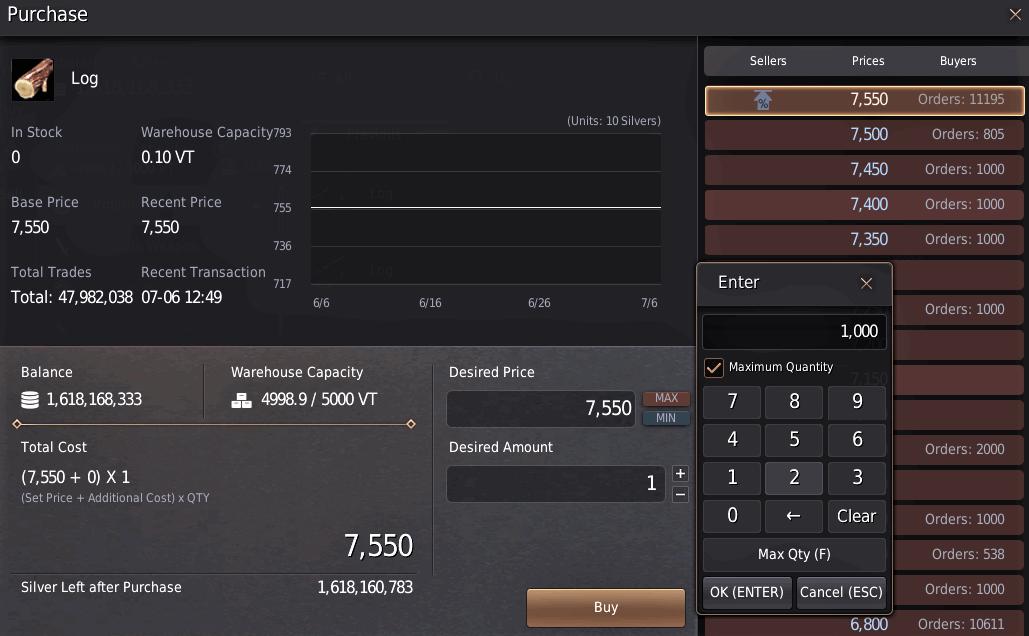 BDO Marketplace: Quantity Limit on Logs