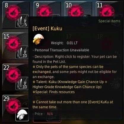 BDO Pet Kuku from Attendance Reward