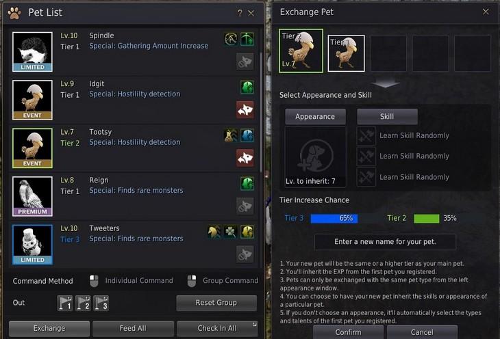 BDO Pet Exchange Tier 2 and Level 7