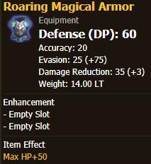 Beginner Chest Piece: Roaring Magical Armor