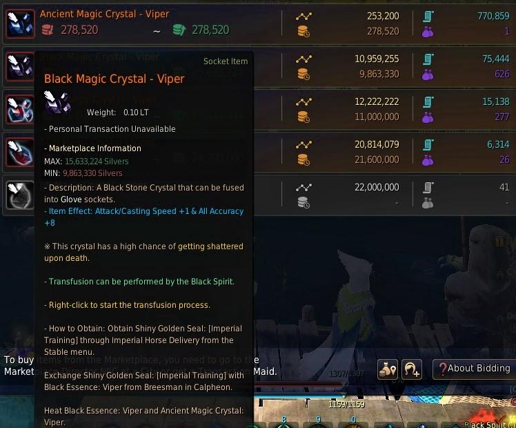 BDO Black Magic Viper Marketplace Prices