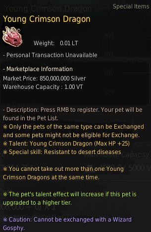 BDO Free Quest Pet: Young Crimson Dragon