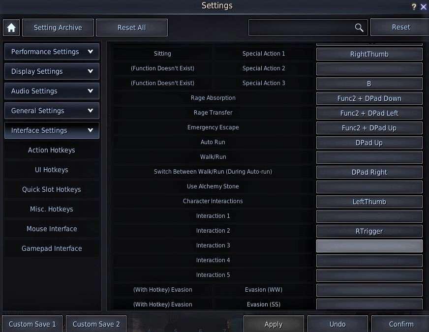 BDO Controller Hotkeys: Action Hotkeys