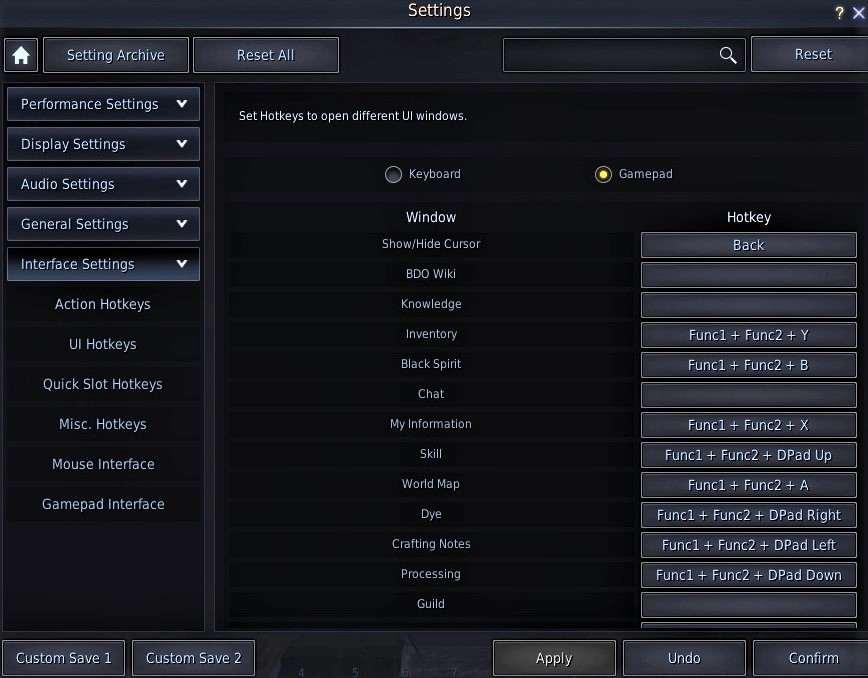 BDO Controller Hotkeys: UI Hotkeys