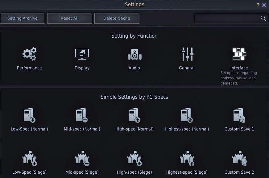 BDO Settings interface after Esc key