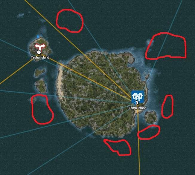 Underwater gathering locations around Lema Island