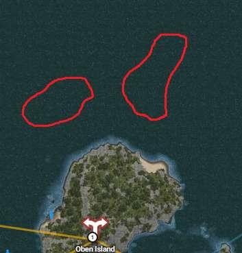 Underwater gathering locations around Oben Island North Spot