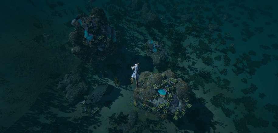 Player doing underwater gathering around Northern Kuit Islands