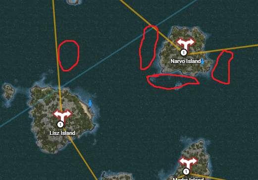 Underwater gathering locations around Narvo Island