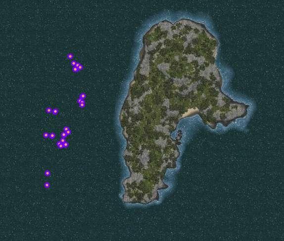 Underwater gathering locations around Al-Naha Island
