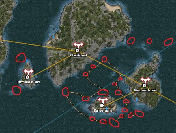 Underwater gathering locations around Dunde Island