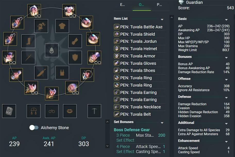 BDO Tuvala Gear Set with PEN Enhancement