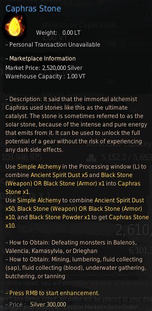 BDO Caphras Stone