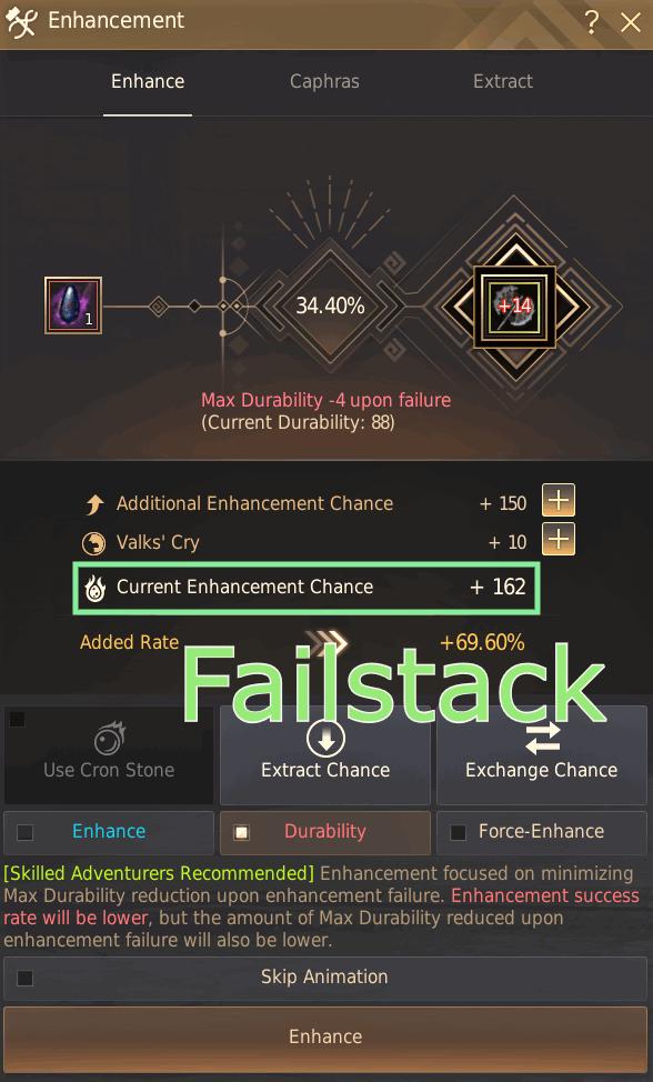 BDO Failstack & Enhancement Window