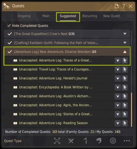 new adventure diverse wonders quest log