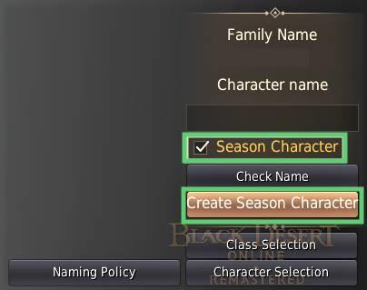 BDO Season Character Option