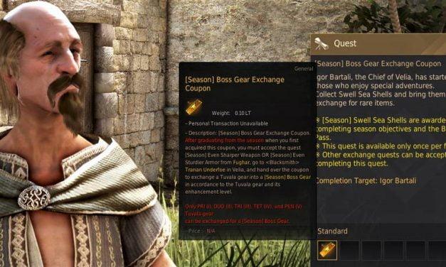BDO Tuvala Gear Exchange for Boss Gear